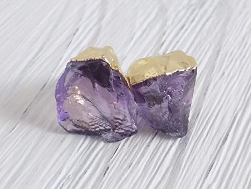 Amethyst Studs Raw Amethyst Earrings Purple Gemstone Small Stone Posts Gold Amethyst Raw ()