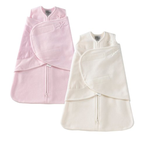 HALO SleepSack Micro-Fleece Swaddle, Pink / Cream, Newborn 2-Pack