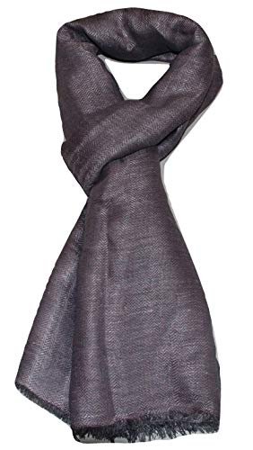 100% Linen, Two Tone Color, Herringbone Jacquard, Soft, Airy, Large, Linen scarf. (Pink & Grey) ()