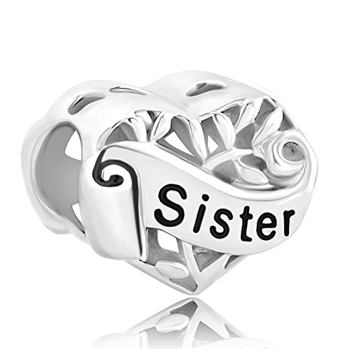 rling Silver Family Tree Life Sister Love Heart Beads Fit Bracelets ()