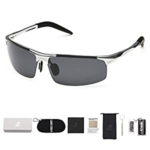ROCKNIGHT Polarized Rimless Rectangular Lightweight UV Protection Wayfarer Shades Driving Sunglasses #8177-3 Silver-Grey