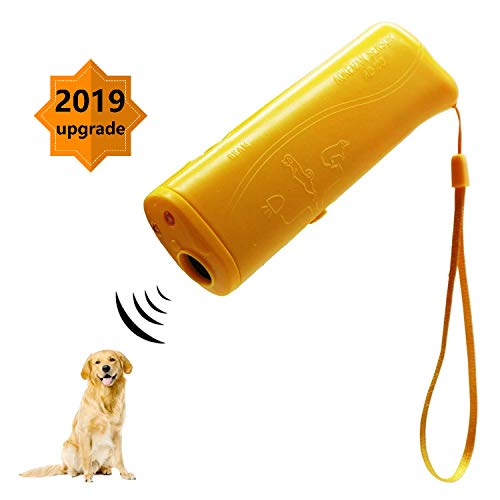 7mohugme LED Ultrasonic Dog Repeller and Trainer Device 3 in 1 Anti Barking Stop Bark Handheld Dog Training Device (Yellow) ()