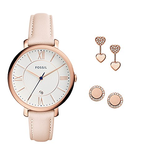 Fossil Women's ES4202SET Jacqueline Three-Hand Date Blush Leather Watch and Jewelry Box - Watch Rose Gold Fossil White And