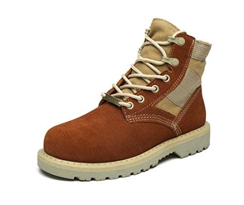 Honeystore Damen Desert Boots Klassische Lederstiefel Outdoor Wanderschuhe Casual Sportschuhe Braun