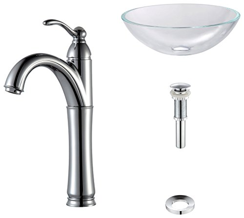 Kraus C-GV-100-12mm-1005CH Crystal Clear Glass Vessel Sink and Riviera Faucet (Crystal Glass Lavatory Sink)