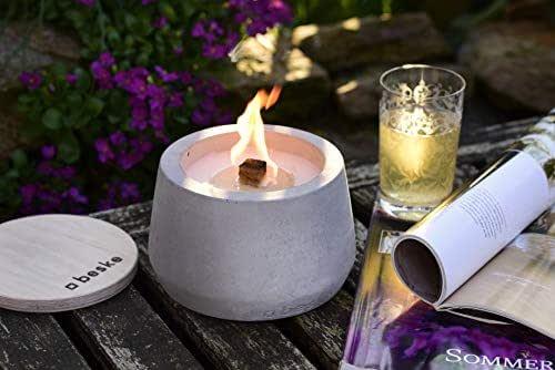 """Antorcha de hormigón con mecha permanente, Tamaño Ø14cm convexo, Antorcha de jardín rellenable, Tiempo de combustión """"infinito"""" gracias al reciclado ecológico de la cera de las velas, Antorcha de mesa"""