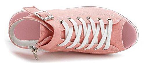 Sandali Con Zeppa Donna, Sneakers In Canvas Piattaforma Casual Estiva Peep-toe 4 Colori Rosa