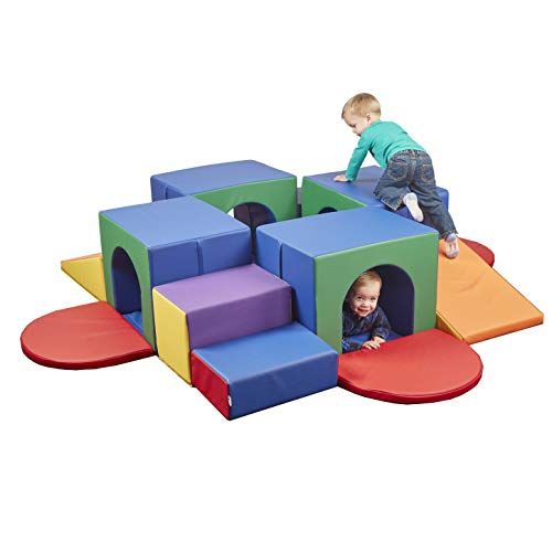ECR4Kids SoftZone Four Tunnel Maze - Beginner Toddler Climber for Safe Active Play - Fun Early Development Obstacle Toy