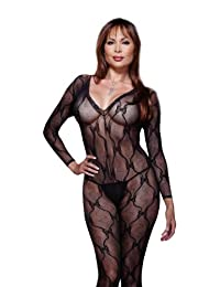 Dreamgirl Women's Plus Long Sleeve Bow Lace Bodystocking