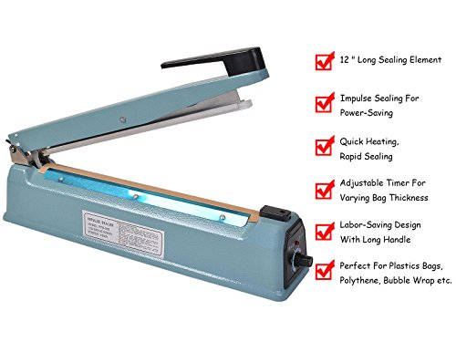Super buy 12'' Heat Sealing Hand Impulse Sealer Machine Poly Free Element Grip& Teflon by Goplus (Image #3)