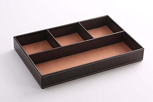 Iremico 4 Compartments Leatherette Valet Tray Desk or Dresser Top Organizer Box-Brown