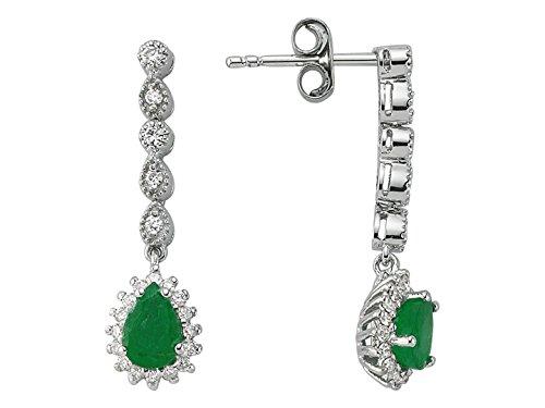 Boucles d'Oreilles Emeraude et Diamants-Femme- or Blanc 215E0029