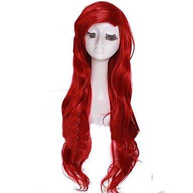 Rihanna Hard Costume (Japan Anime Cosplay Wig Lolita Wigs Dark Red Long Curly Little Mermaid Princess Ariel Heat Resistant Wig for Girl)