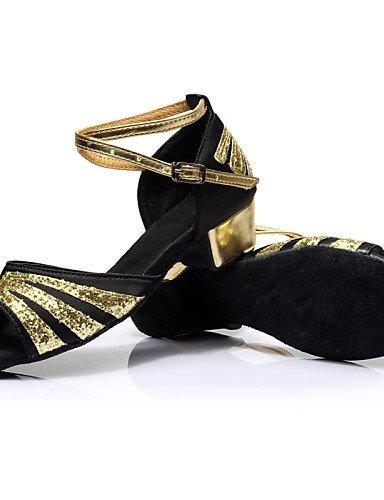 ShangYi Customizable Women's Dance Shoes Latin Silk/Leather Chunky Heel Black/Blue/Red Blue TK1Vp