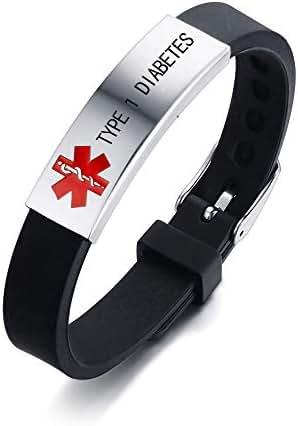 HEABY Medical Alert ID Bracelet Laser Engraved Type 1 Diabetes Adjustable Wristband for Men Women Kid Emergency First Aid