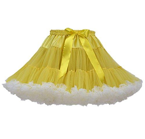 Jupe Tutu Femme Jupon Tulle Fille Adulte Dguisement Tutu Danse Bouffante Jupe Froufrou Jupes Tulles Pettiskirt Deguisement Classique Courte Petticoat Ruffle Princesse Ballet Mini Jaune Blanc