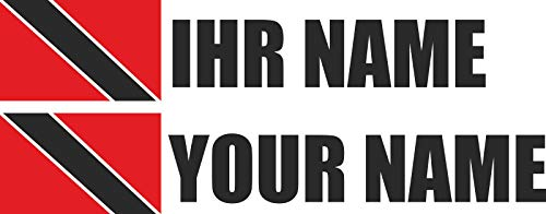 INDIGOS - Sticker Decal - Trinidad & Tobago - Font Black - foil - car, Folder, Motorcycle, Bike, Wall, Door, Fridge etc - 90x18 mm - Flag Name Personalized Individually