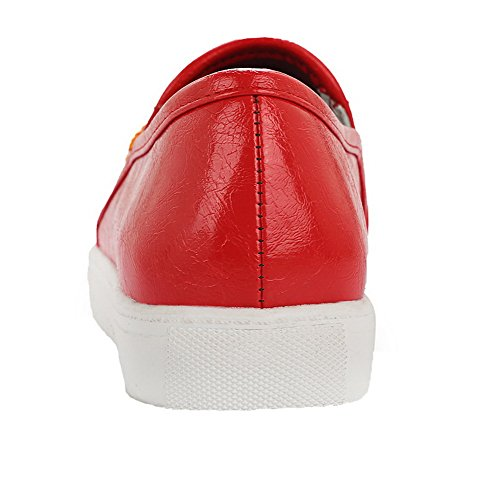 Pumps Red Heels PU on Low WeiPoot Shoes Closed Women's Solid Round Toe Pull B11v7