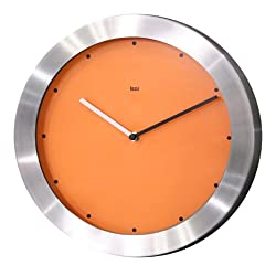 Bai Brushed Aluminum Wall Clock, Signature Orange