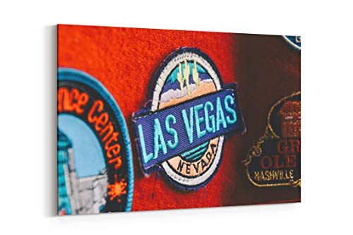 (Las Vegas Badge Retro and Vintage in United States - Canvas Wall Art Gallery Wrapped 12