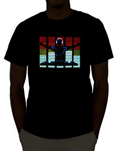 Emazing Lights DJ Sound Activated Light Up Rave Shirt (Medium) ()