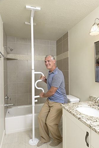 Stander Security Pole & Curve Grab Bar - Elderly Tension Mounted Transfer Pole + Bathroom Assist Grab Bar - Iceberg White