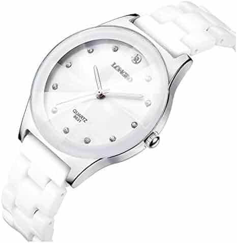 ef7c0bc15 Luxury Casual Men Ceramic Fashion Couple Sports Rhinestone Waterproof  Quartz Boy Watches (White Men)