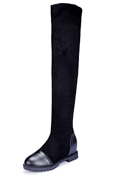 3c156ce5aa789 HiTime Ladies Flexible Velvet Tall Boots Pull On Tight Boots Over ...