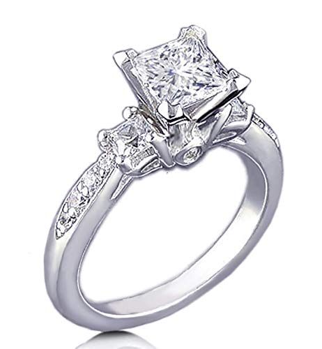(Venetia Realistic Supreme Princess Cut 3 Stones Simulated Diamond Ring 925 Silver Platinum Plated Pave Art Deco Decor)