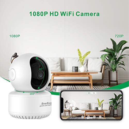 EverExceed Wireless Security Camera Hmoe HD 1080P AI Humanoid Tracking IP Cameras with Two-Way Audio and Infrared Night Vision, TF Slot and Cloud for Baby/Pet Monitoring