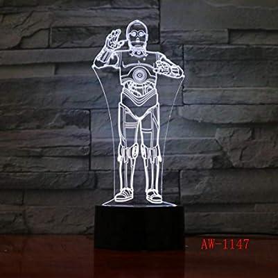 LULO Luz de noche LED 3D Darth R2-D2 Robot Master Lamps Cartoon Luminous Baby Lighting: Amazon.es: Iluminación