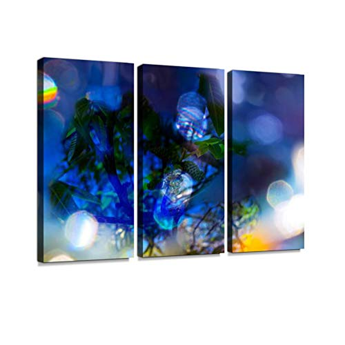 7houarts Midsummer Night's Dream with The City Lights Canvas Wall Artwork Poster Modern Home Wall Unique Pattern Wall Decoration Stretched and Framed - 3 Piece