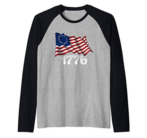 America Betsy Ross Flag 1776 Vintage Distressed Raglan Baseball Tee