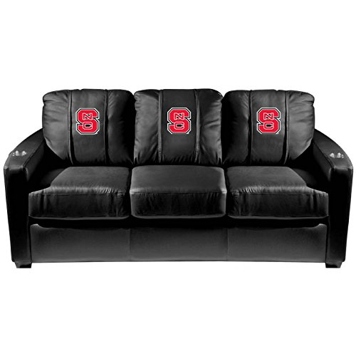 XZipit College Silver Sofa with North Carolina State Logo Panel, Black