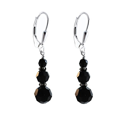 Black, Zet Earrings made with Faceted Round Swarovski Crystal Elements, Sterling Silver - Faceted Black Drop Earring