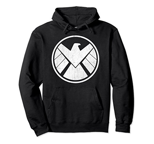 Shield Mens Sweatshirt - Unisex Marvel Agents of S.H.I.E.L.D. Distressed Logo Vintage Hoodie Small Black