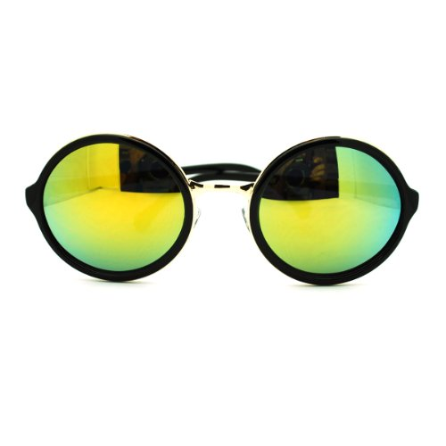 Psy Gangnam Style Gentleman mirrored Color Mirror Circle Lens Sunglasses - Black - Sunglasses Gentleman