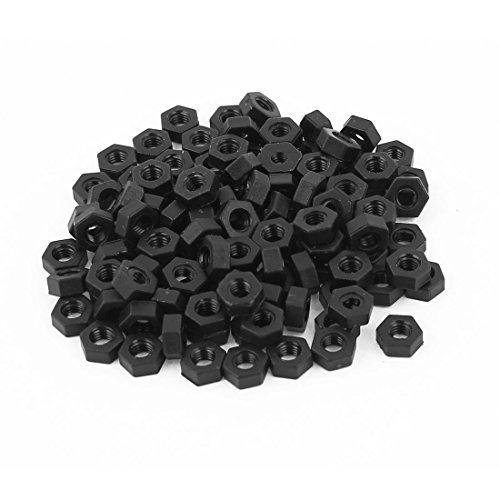uxcell M3 Thread Insert Lock Screw Fastener Nylon Hex Nuts Black 100pcs (3mm Nuts Nylon)