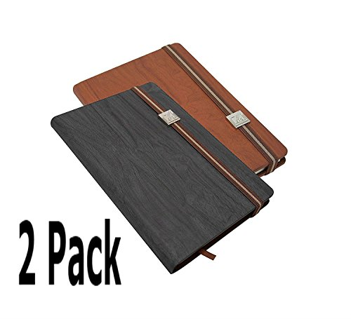 Journal Set Math (2 Pack Wood Grain Travel Journal (Black/Brown Set) 5 x 8 Inch Paper Notebook Writing Pad)