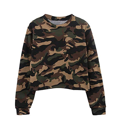 Price comparison product image Ulanda 2018 Newest Womens Teen Girls Long Sleeve Camouflage Patchwork O Neck Sweatshirt Casual Camo Crop Top Blouse