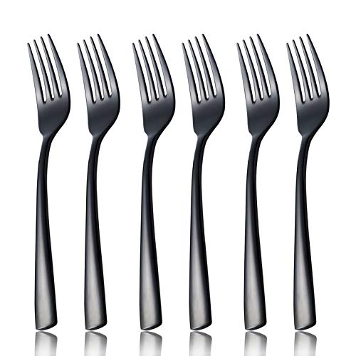 OMGard Black Dinner Fork Set, 6 Piece 18/10 Stainless Steel Flatware 8-inch Table Forks Only Service for 6 Heavy Weight Silverware Sets Eating Utensils Cutlery Dishwasher Safe Mirror Finished
