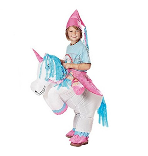 Inflatable White Unicorn Costume Fan Carry Me Children Birthday Party (Ride A Unicorn Costume)