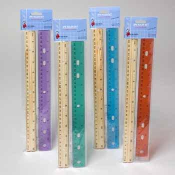 Ruler Set - Plastic and Wooden 2 Pack 72 piece 72 pcs sku# 339970MA