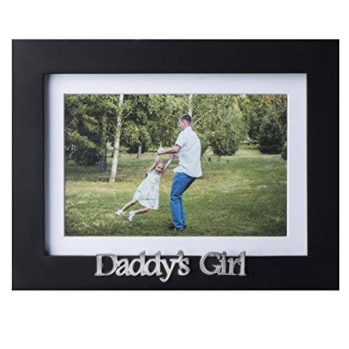 Klikel Daddys Girl Picture Frame | Black Wood Frame with Father Sentiments | Holds 1 4x6 Photo with Mat or 1 5x7 Photo Without Mat | Wall Mount and Table Desk Display (Silver Heart Daughter Frame)
