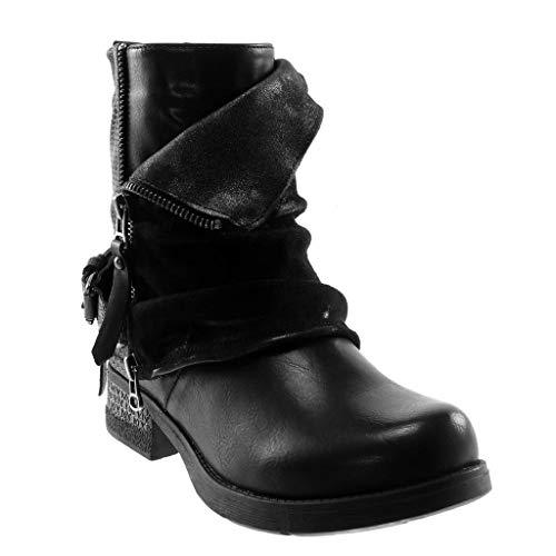 cm Booty Boots Black Braided Women's Shoes Zip Fashion Classic Thong Ankle Biker bi Material Angkorly Heel 5 3 Block TXqCC