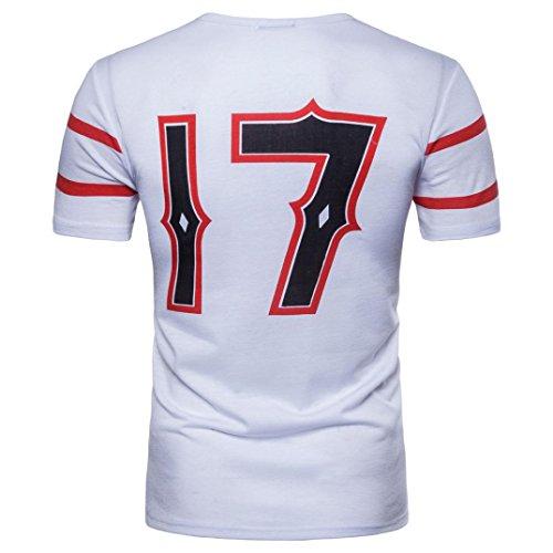 Bluestercool Hauts Hommes Casual Col Rond Manches Courtes T-Shirt Pour Sports Blanc