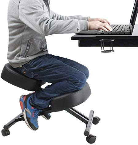 Ergonomic Kneeling Chair Home Office Chairs Thick Cushion Pad Flexible Seating Rolling Adjustable Work Desk Stool Improve Posture Now Neck Pain – Comfortable Knees and Straight Back