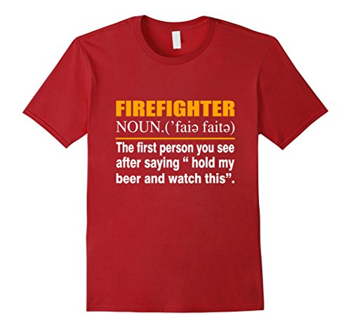(Mens Best Gift For Firefighter. Christmas Shirt For Dad. Large Cranberry)