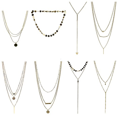 Coolcoco Adjustable Multilayer Fashion Metal Gold Choker Necklace Set with Pendant (8 Pieces/Set)