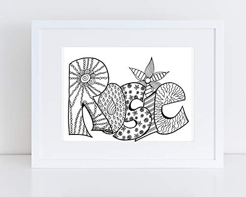Personalized Name Coloring Page, 2 Copies Of Custom, Hand-Drawn Art Printed On Card Stock